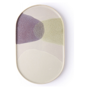 HK Living Gallery Ceramics Oval Dinner Plate Green-Lilac ACE6779