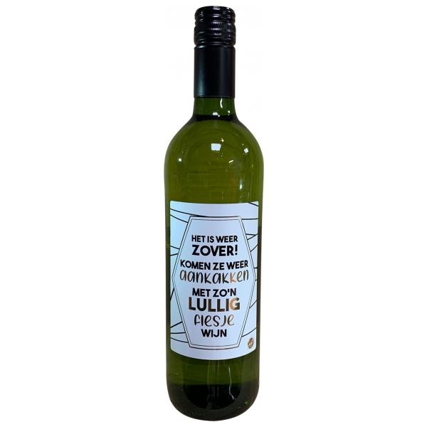 The Big Gifts Wijnfles wit Het is weer zover! Komen ze weer aankakken met zo'n lullig flesje wijn