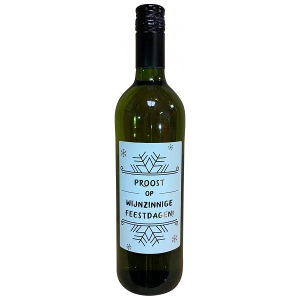 The Big Gifts Wijnfles wit Proost op wijnzinnige feestdagen!