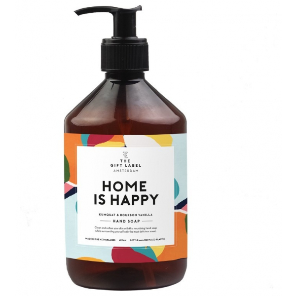 The gift label handsoap Home is happy