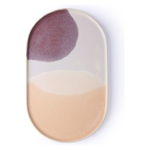 HK Living gallery ceramics: oval dinner plate: pink/lilac