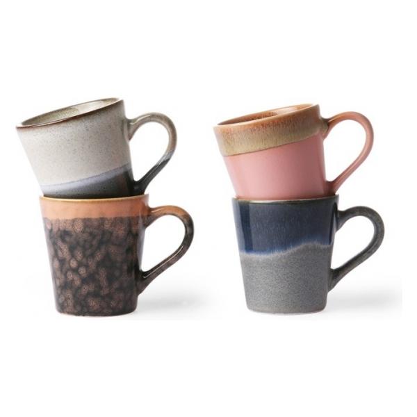 HK Living 70s ceramics: espresso mugs (set of 4)