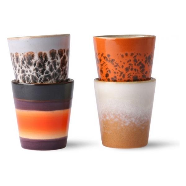 HK Living 70s ceramics: ristretto mugs (set of 4)