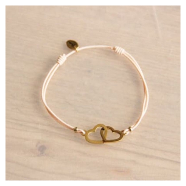 Bazou Elastic bracelet with connected heart - peach / gold