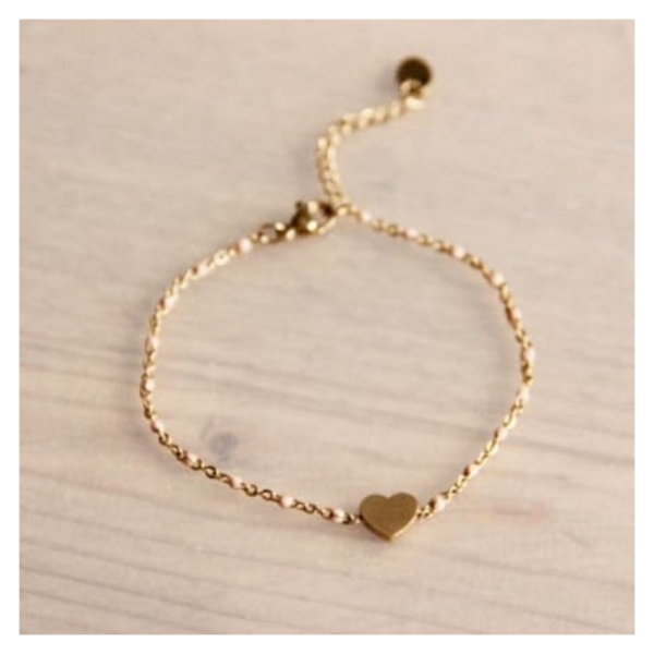 Bazou Stainless steel bracelet with peach accents and heart
