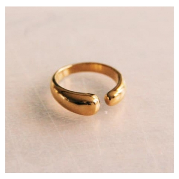 Bazou Stainless steel open ring - gold