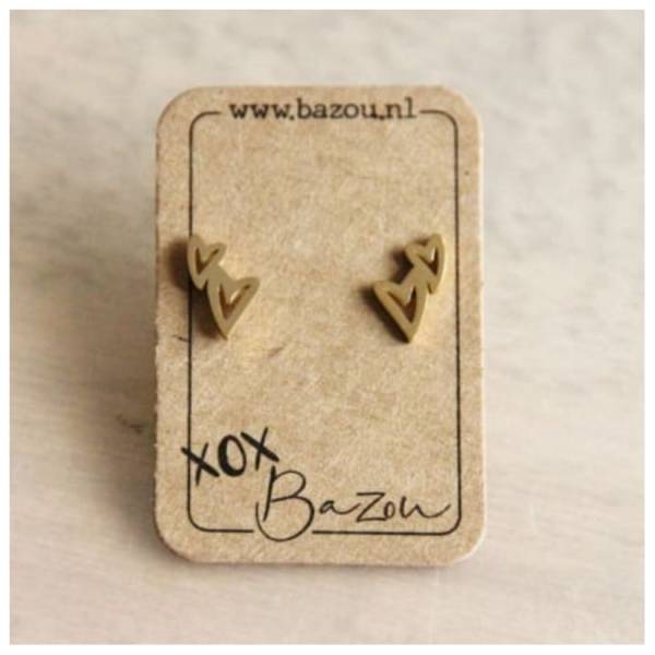 Bazou Stainless steel ear studs double heart - gold