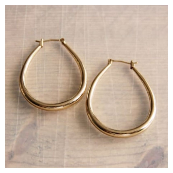 """Bazou Stainless steel earring """"oval"""" - gold"""