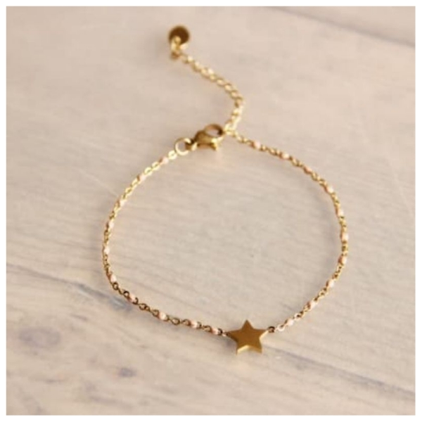 Bazou Stainless steel bracelet with peach accents and star