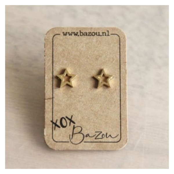Bazou Stainless steel ear studs open star - gold