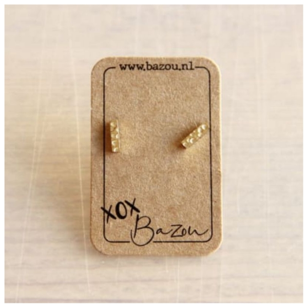 Bazou Ear Studs Stainless steel T-bar with print - gold color