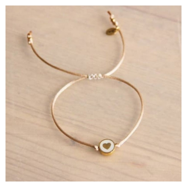 Bazou Silk thread bracelet with heart bead - champagne / gold color