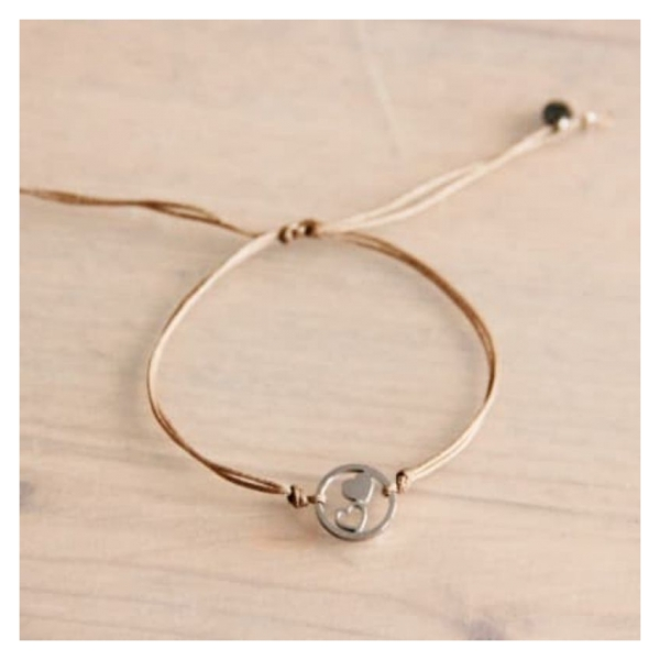 Bazou Satin bracelet with double heart - taupe / silver
