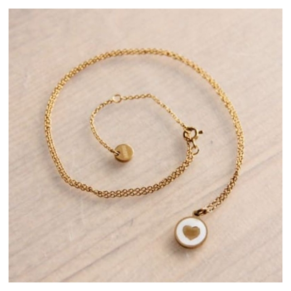 Bazou Stainless steel fine chain with round mother-of-pearl charm