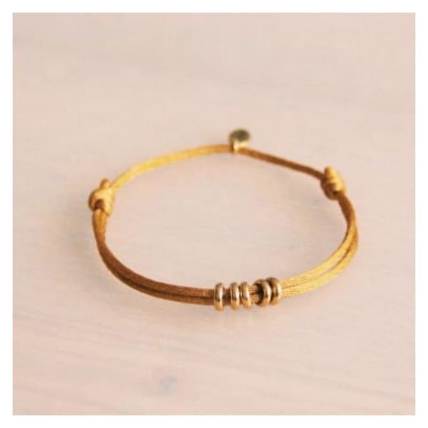 Bazou Satin bracelet with rings - ocher / gold