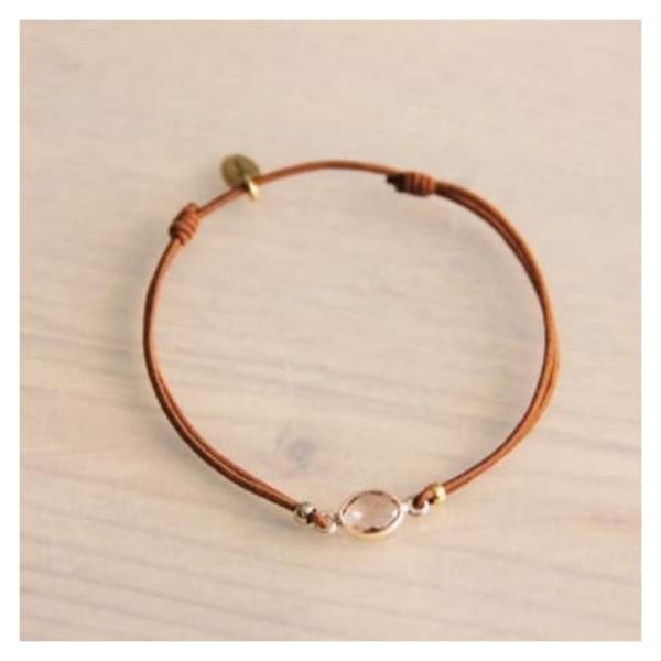 Bazou Elastic bracelet with crystal stone - cognac / gold