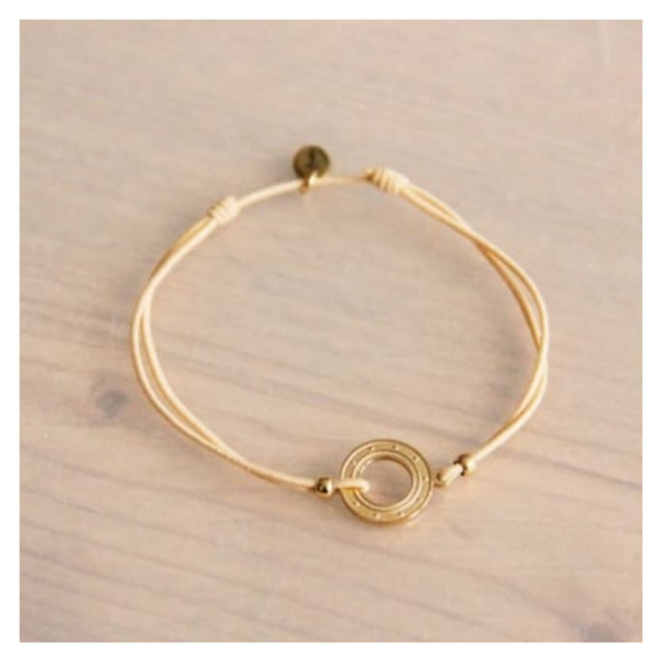 Bazou Elastic bracelet with open coin - sand / gold