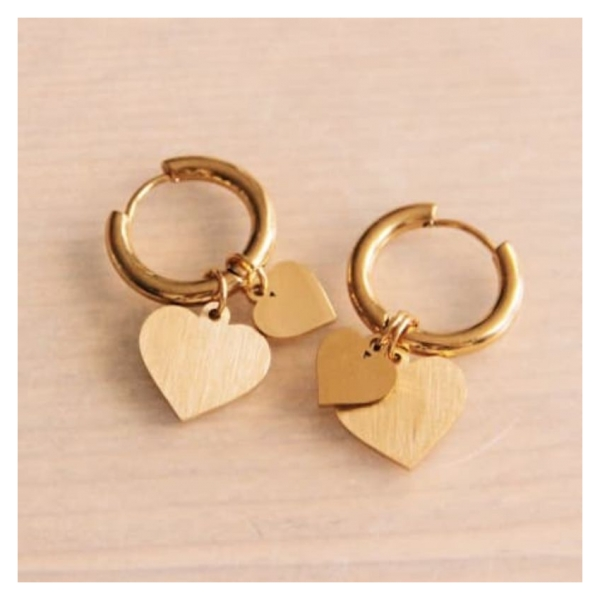 Bazou Stainless steel earring with small and large heart - gold