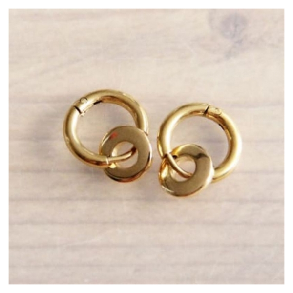 Bazou Steel creoles with round mini ring - gold
