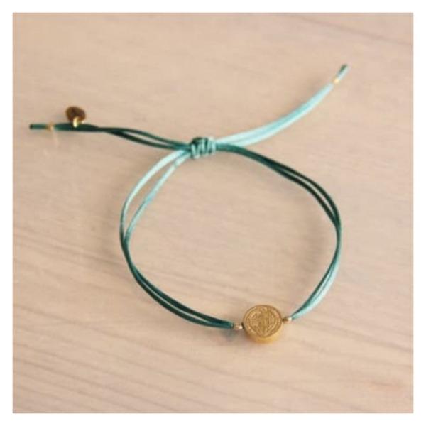 Bazou Satin bracelet with coin - emerald / green