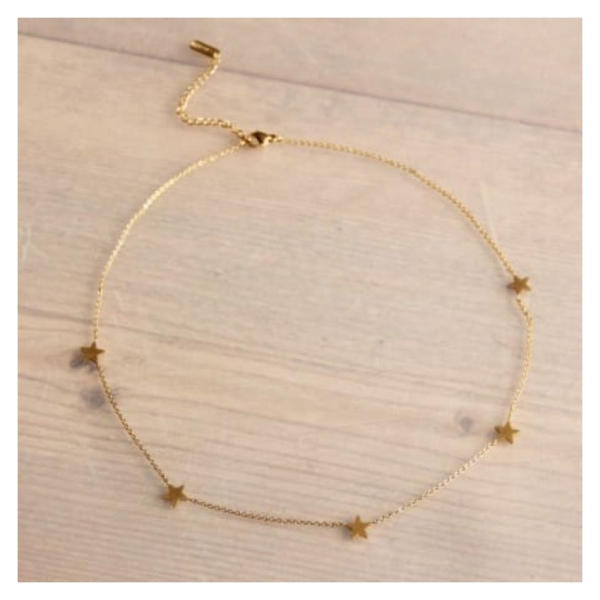 Bazou Stainless steel fine short necklace with stars - gold
