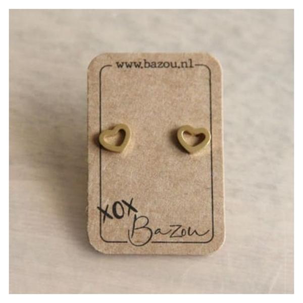 Bazou Stainless steel ear studs open heart - gold