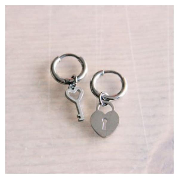 Bazou Steel creoles with key + lock - silver