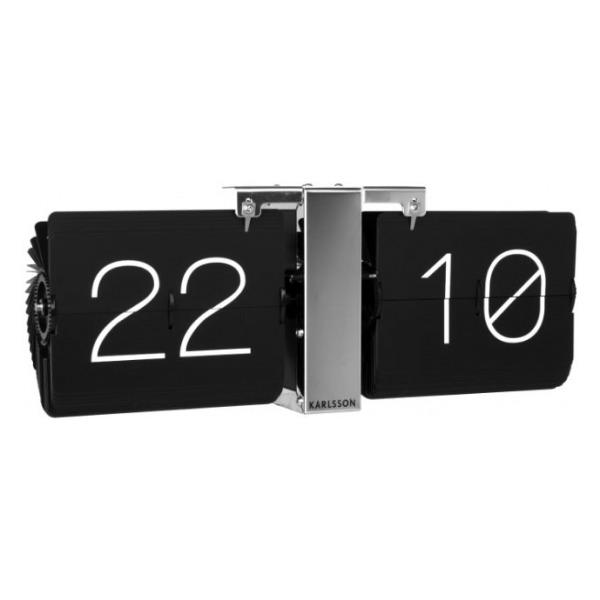 Karlsson Flip clock No Case black, chrome stand KA5601BK