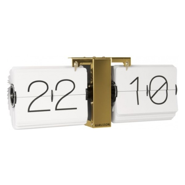 Karlsson Flip clock No Case white, brass stand KA5601WH