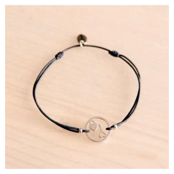 Bazou Elastic bracelet with round charm lock + key - gray / silver