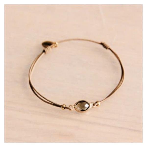Bazou Elastic bracelet with crystal stone - taupe / gold
