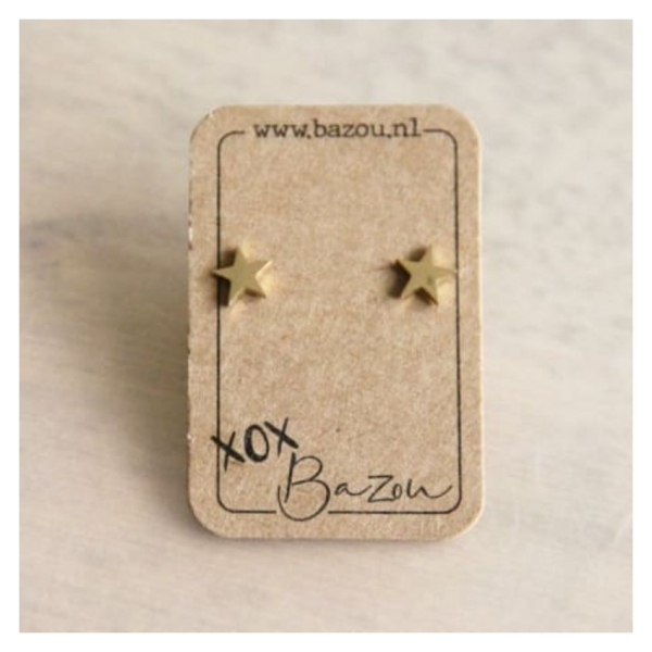 Bazou Stainless steel ear studs star - gold