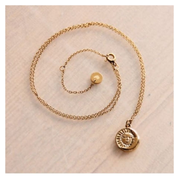 Bazou Stainless steel fine chain with round charm moon / sun - gold