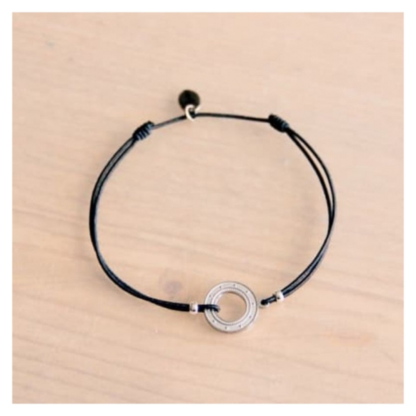 Bazou Elastic bracelet with open coin - gray / silver