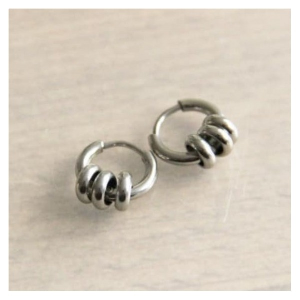 Bazou Steel creoles with 3 rings - silver