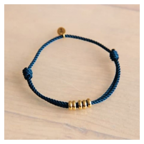 Bazou Twisted bracelet with rings - blue / gold