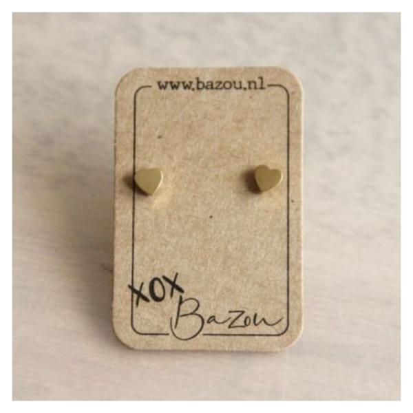Bazou Stainless steel ear studs heart - gold