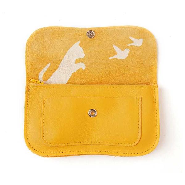 Keecie Gele leren portemonnee, Cat Chase Medium, Yellow