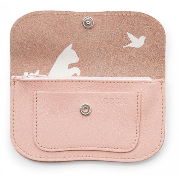 Keecie Kleine lichtroze leren portemonnee, Cat Chase Small, Soft Pink