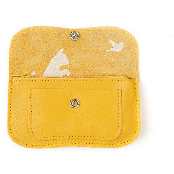 Keecie Kleine gele leren portemonnee, Cat Chase Small, Yellow