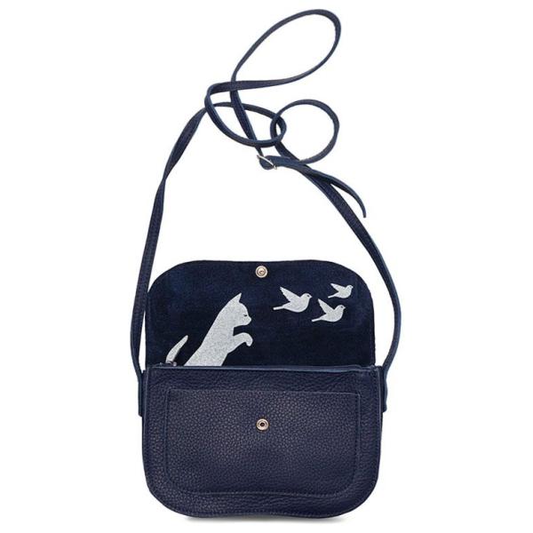 Keecie Donkerblauwe leren schoudertasje, Cat Chase, Ink Blue