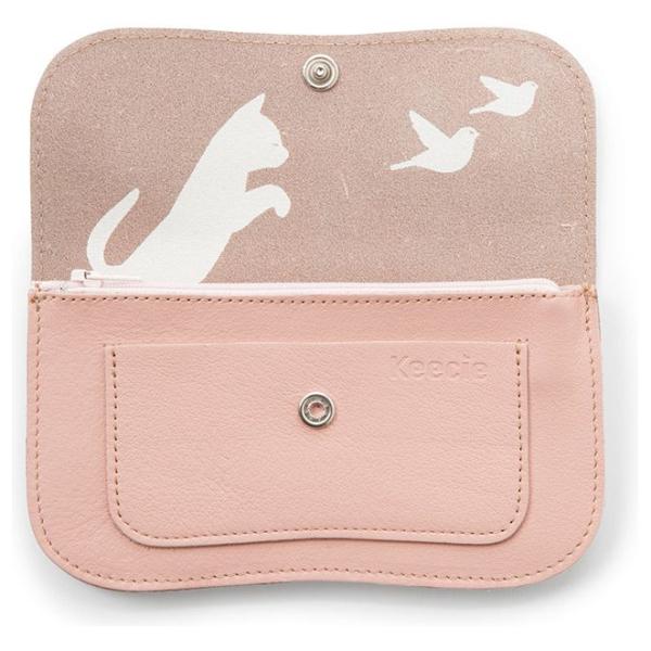 Keecie Lichtroze leren portemonnee, Cat Chase Medium, Soft Pink