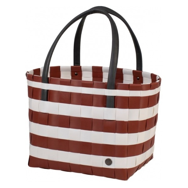 Handed By Shopper fat strap rusty red white size S with PU handles