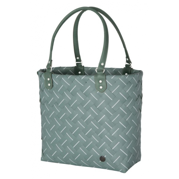Handed By Shopper fat strap greyish green with white fine line size S with PU handles