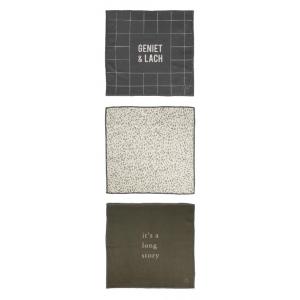 Zusss set van 3 vaatdoekjes met tekst en patroon