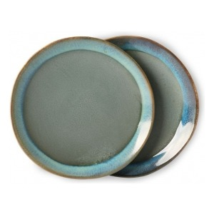 HKliving Ceramic 70's Dessert plates moss (set of 2)
