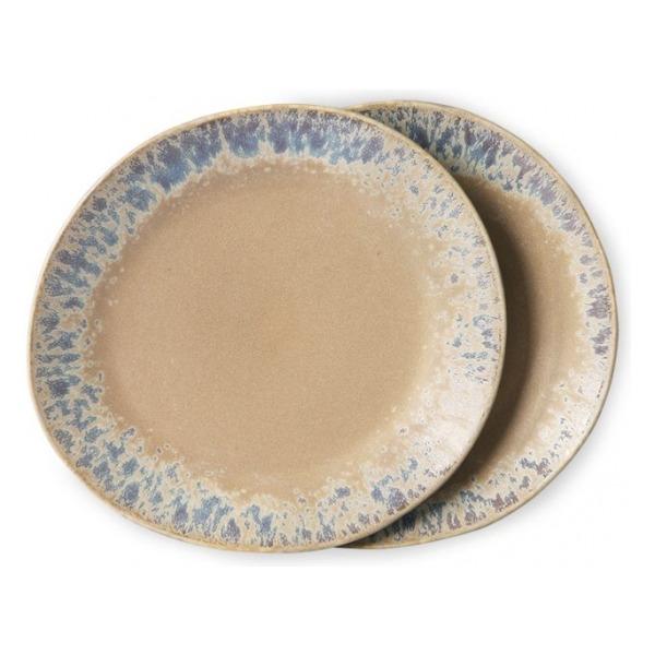 HKliving Ceramic 70's Side plates bark (set of 2)