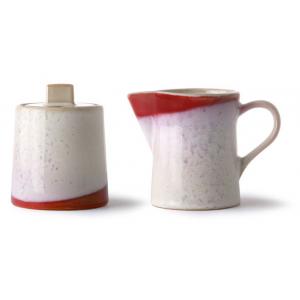 HKliving Ceramic 70's Milk jug & sugar pot frost
