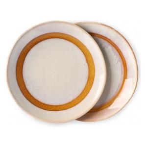 HKliving Ceramic 70's Dessert plates snow (set of 2)