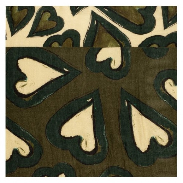 POM Amsterdam SP6588 Shawl Heartbeat Khaki Green Detail